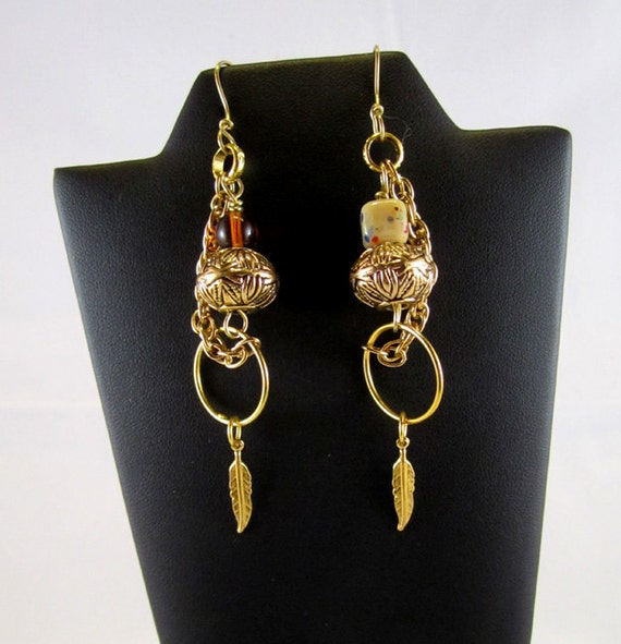 Gold and Amber Almost-Matching Earrings