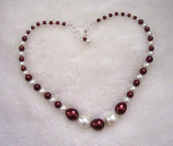 Luxurious Burgundy and White Glass Pearl Necklace