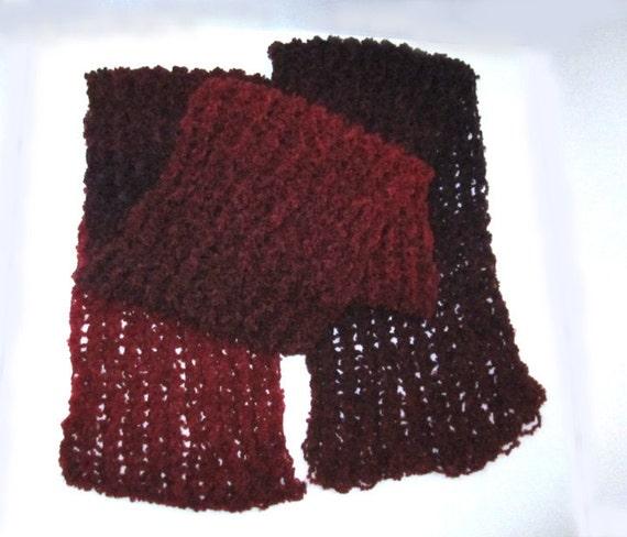 SALE - Variegated Burgundy Knit Scarf - 10 DOLLARS OFF