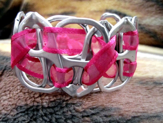 100% spcaLA Donation Item  - Neon Pink Upcycled Pop-Top Bracelet - NO coupon codes for donation items