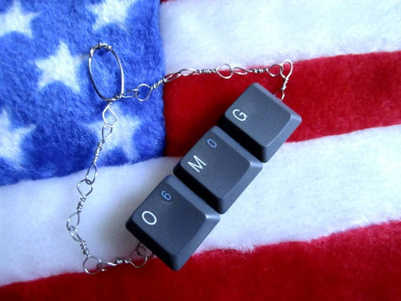 RESERVED for TEAMDREAM BNR - O M G Geek Chic Upcycled Computer Keyboard Tie Bar or Pendant
