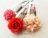 Little Girl Flower Hair Clip Set, Red and Pink, Rose, Chrysanthemum, Bouquet, Snap Clips
