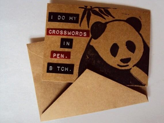 Serious Crossword Junkie.  Handmade Panda Greeting Card.