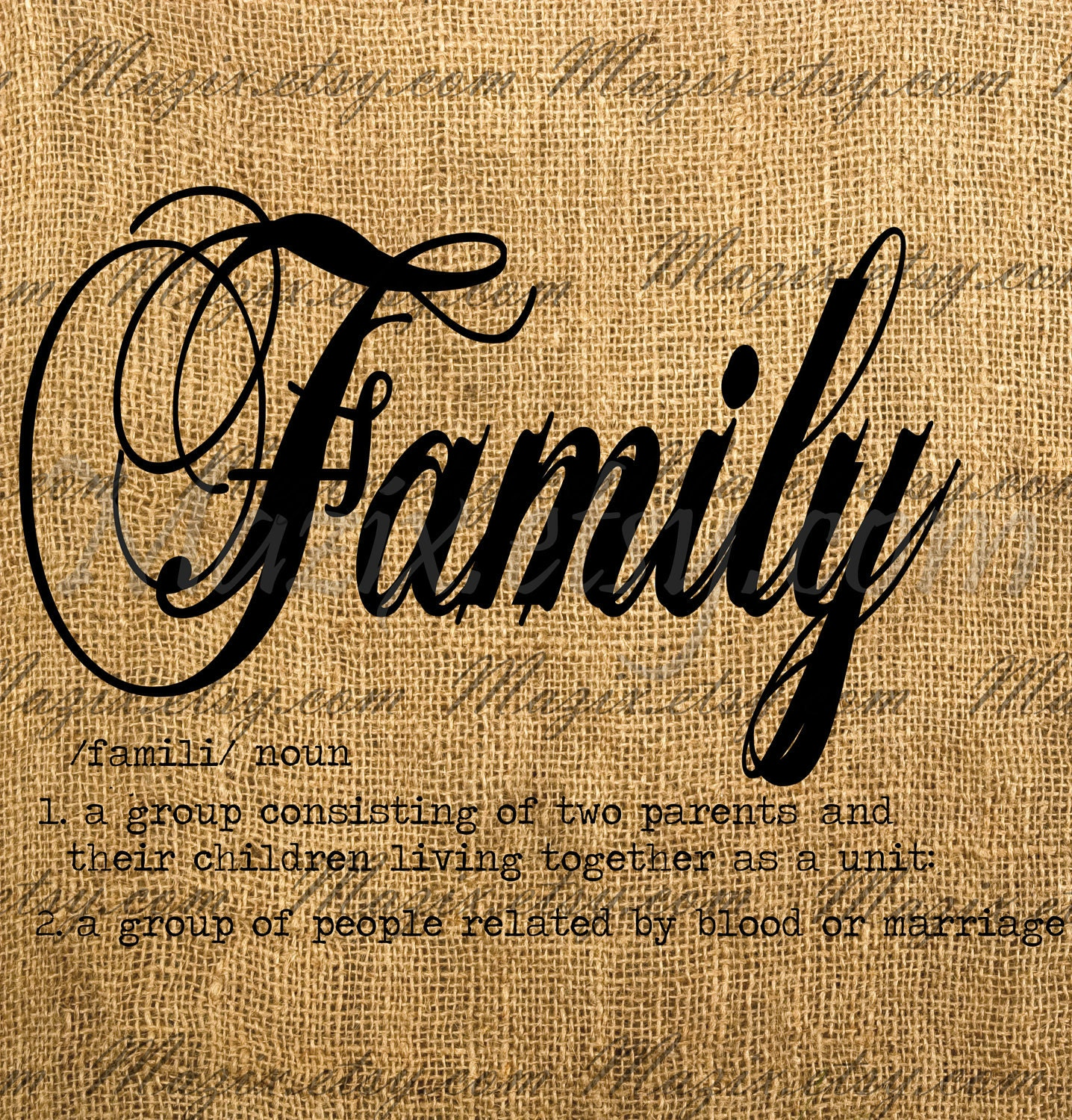 Family Dictionary Definition Calligraphy Word Digital By Mazix