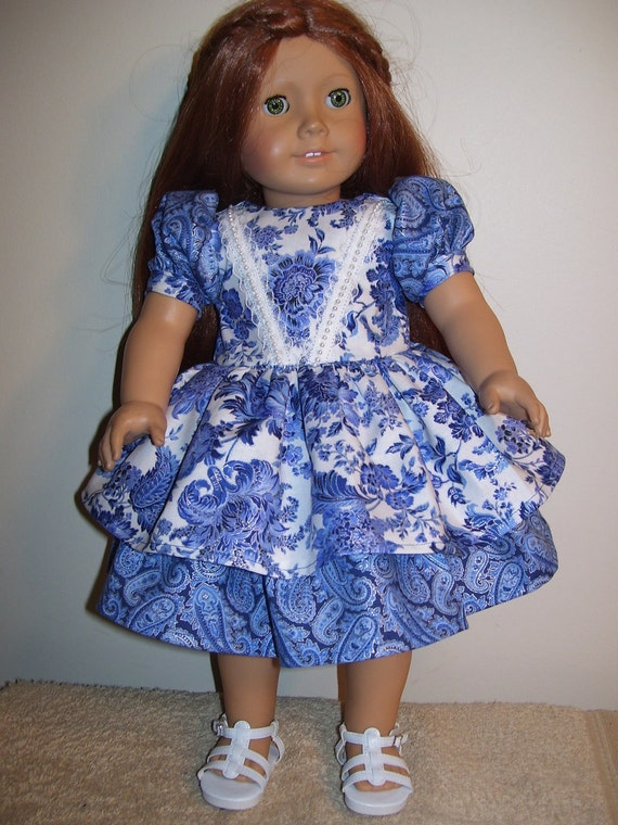 American Girl Doll Blue Dress with Pearl Lace and 2 Tier Skirt
