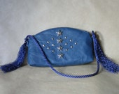 Leather Satchel Travel Bag Blue Star Clutch Wallet Real Leather Collectable Purse Handbag Handmade SALE 50% OFF