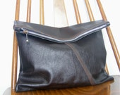 Fold Over Leather Clutch Antiqued Distressed Leather Oversized Clutch Dark Brown Leather 15% Off Sale Cyber Monday