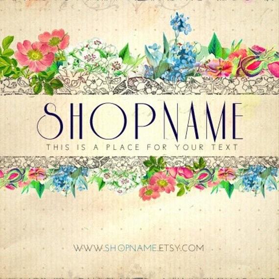Floral Collages. Premade Etsy Shop Set Banner Avatar