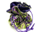Drawstring Jewelry Pouch -  Purple and green floral travel bag