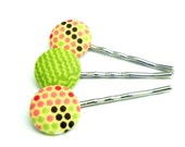 Fabric Bobby Pins - Set of 3 - Pink, green and brown polka dots