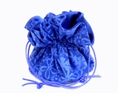 Drawstring Jewelry Pouch -  Sapphire blue floral travel bag