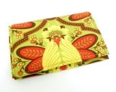 Business Card Holder - Floral in green, red and yellow