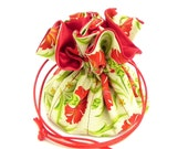 Drawstring Jewelry Pouch - Red, cream and green carnations travel bag