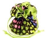 Drawstring Jewelry Pouch -  Rainbow polka dots travel bag