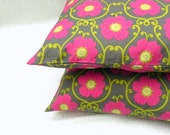 Pillow Covers. Set of Two 16x16.  Magenta pink and lime green floral
