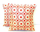 Pillow Covers. Set of Two 16x16. Red and Cream floral fabric