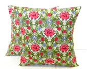 Decorative Pillow Covers. Set of Two 16x16.  Red Poppies and Blue Carnations floral fabric.
