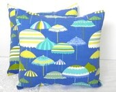 20% OFF - SALE Pillow Covers. Set of Two 18x18.  Umbrellas at the beach - Indoor/Outdoor