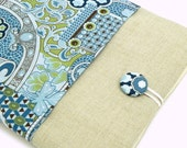 iPad Cover Case, iPad Padded Sleeve - Floral fabric in teal, blue, brown and green  - Linen