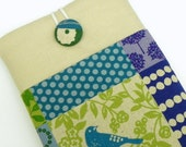 Kindle Fire Cover Case, eReader Padded Sleeve - Japanese Linen - Green and teal bird - Christmas