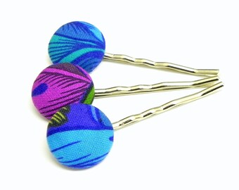Fabric Bobby Pins - Set of 3 - Pink, purple and blue flowers