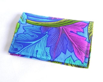 Business Card Holder - Floral in green, sapphire blue, aqua, pink and purple