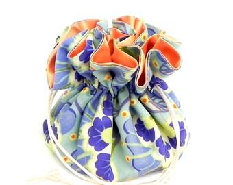Drawstring Travel Jewelry Pouch - Blue, aqua and peach floral travel bag - Moda fabric