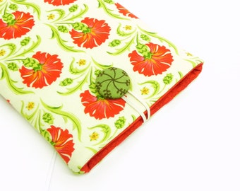 iPad mini Kindle Fire Cover Case, eReader Padded Sleeve - Red carnations, green and cream fabric