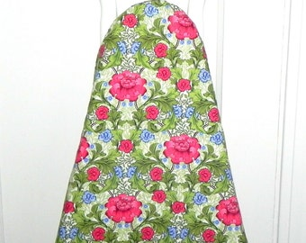 Ironing Board Cover - Red Poppies and Blue Carnations floral fabric.