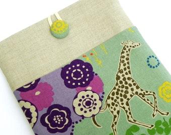 iPad Cover Case, iPad Padded Sleeve - Echino Japanese Linen - Giraffe in the Savannah