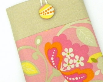 Kindle Fire Cover Case, eReader Padded Sleeve - Pink, yellow and cream fabric - Linen