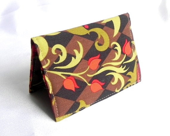 Business Card Holder - Floral in olive green, red and brown
