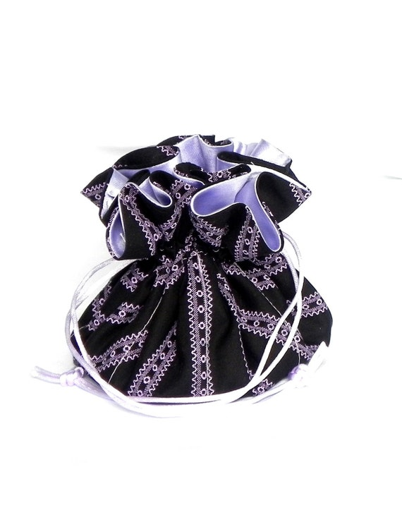 Drawstring Jewelry Pouch -  Black. amethyst and lavender travel bag
