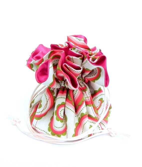 Drawstring Jewelry Pouch -  Pink, white and green floral travel bag - Michael Miller