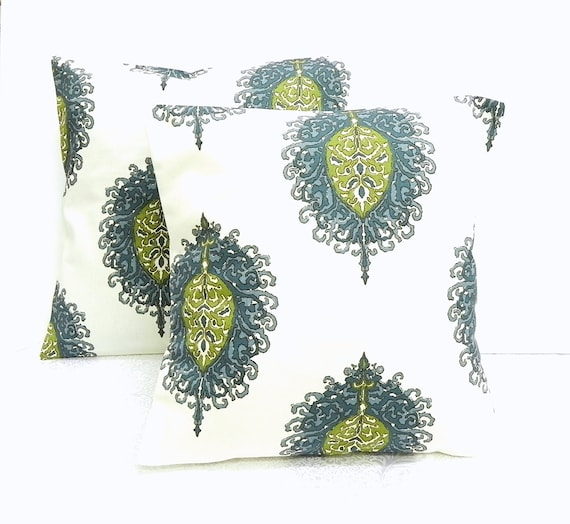 Pillow Covers. Set of Two 16x16.  Cream, teal and green Duralee floral fabric