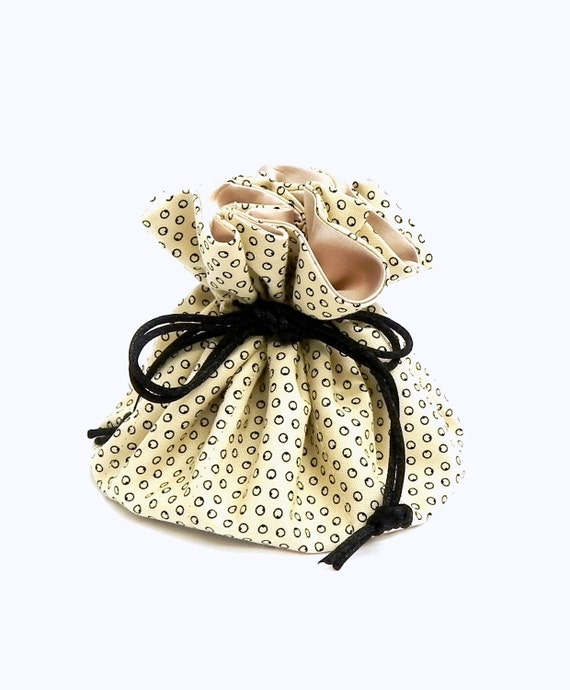 Drawstring Jewelry Pouch -  Champagne and Black polka dots travel bag