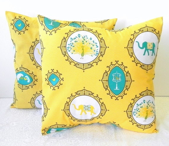Decorative Pillow Covers. Set of Two 16x16. Yellow and Turquoise elephant and peacock fabric