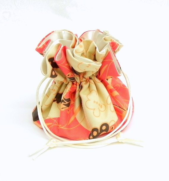 Drawstring Jewelry Bag Pouch - Jewelry organizer -  Coral, peach, grey and cream floral travel bag
