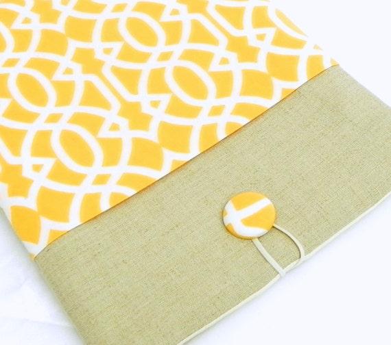 iPad Cover Case, iPad Padded Sleeve - Orange and white lattice fabric - Linen