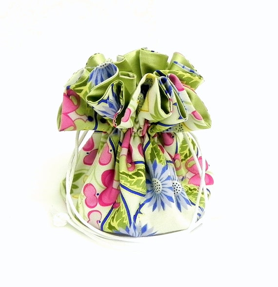 Drawstring Jewelry Pouch - Green, yellow, blue and pink pastel floral travel bag