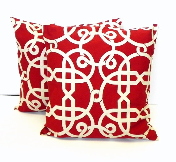 Pillow Covers. Set of Two 16x16. Deep red and cream mod geometic fabric