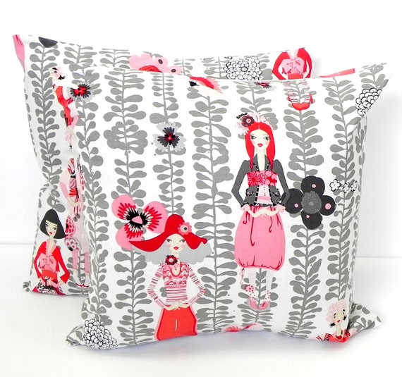 Decorative Pillow Covers. Set of Two 16x16. Pink, Grey and Red Rivoli Girl Alexander Henry fabric