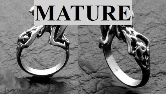 Mature Straight Doggie Style Ring  Solid Sterling Silver Free Domestic Shipping