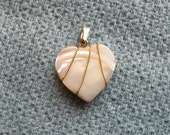 Vintage heart shaped mother of pearl pendant