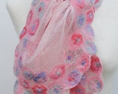 Hand Dyed, Nuno Felt Scarf or Stole on Cotton, Circle Collection, Baby Pink with Lilac, Pink and Mint