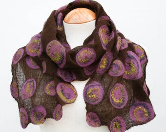 Hand Dyed, Nuno Felt Scarf on Cotton, Lime, Purple and Mauve on Brown
