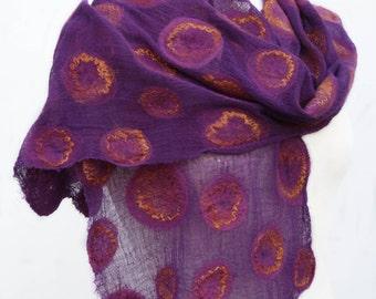 Hand Dyed, Nuno Felt Scarf on Cotton, Rust and Golden Yellow on Purple