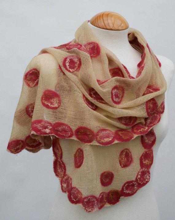 Hand Dyed, Nuno Felt Scarf on Cotton, Cream, Caramel and Ochre with  Brick Red on Caramel
