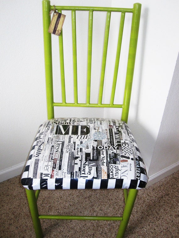 """Funky Green """"Show Me the Key Today"""" Collage Chair"""