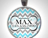 Dog ID Tag in Aqua Blue and Gray Chevron